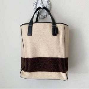 Coach creme & brown tote / purse